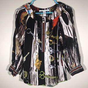 Diane Von Furstenberg half button silk blouse